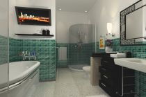 Charming-Modern-Shower-Corner-with-Minimalist-White-Bathtub-and-Fancy-Green-Bathroom-Wall-Tiles1
